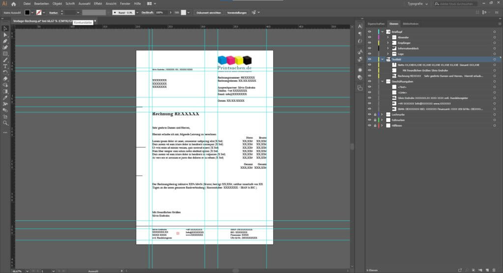 Rechnung schreiben mit Illustrator